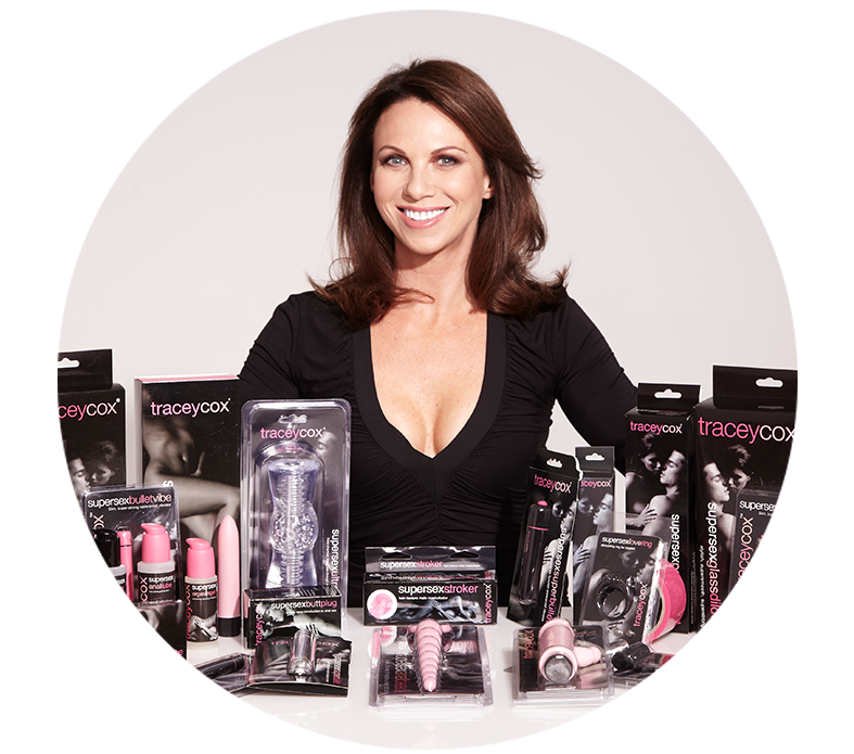 Picture of sex expert Tracey Cox with her product range